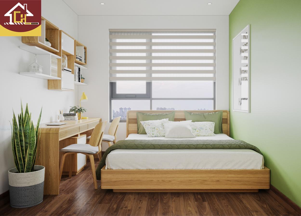 Thiết kế nội thất chung cư Vinhomes Symphony gỗ óc chó