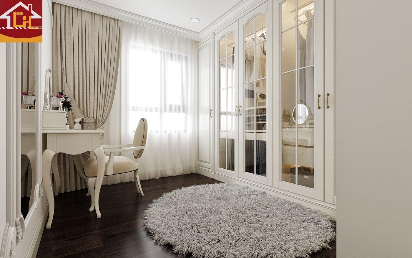 Thiết kế nội thất căn hộ 2 ngủ tại chung cư Vinhomes Symphony theo phong cách tân cổ điển