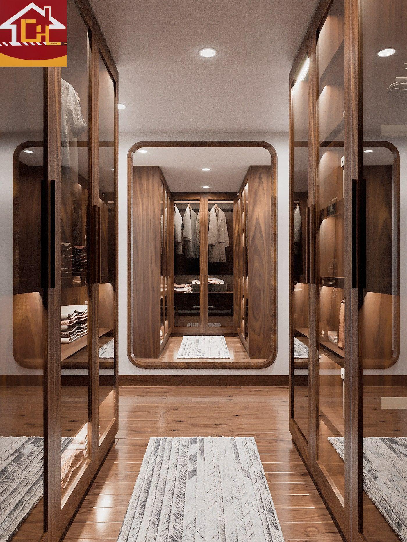 Thiết kế nội thất nhà phố gỗ óc chó